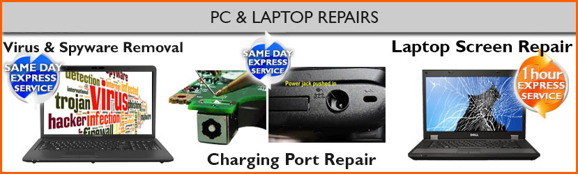 PC and Laptop Repair, Virus Removal, Charging Port Repair, Laptop Screen Replacement